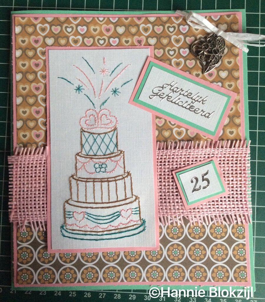 Voor een 25-jarig huwelijk. Borduurpatroon Hobbyzine. Papier blok Boekenvoordeel. @Hannie Blokzijl