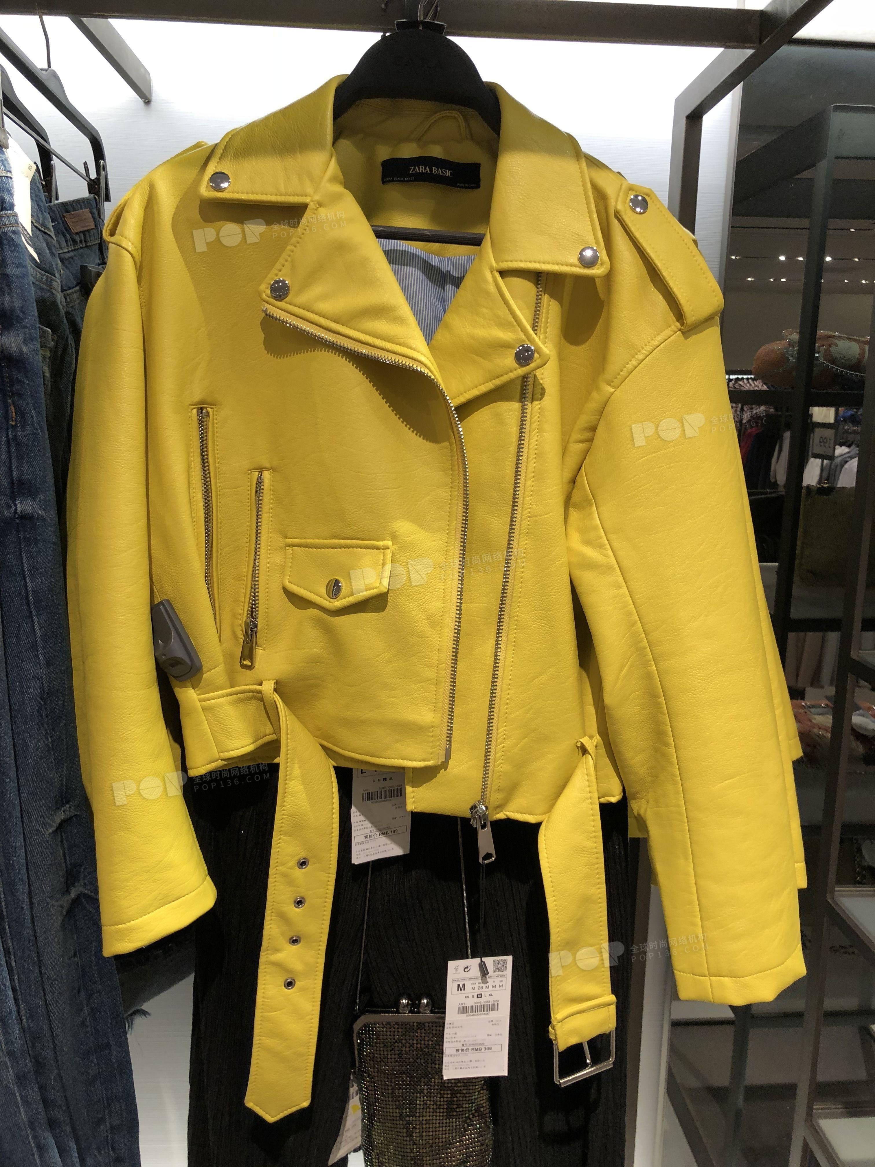 Pop Fashion Womenswear 2018ss Hangzhou Zara Outerwear Jacket Leather Clothing Yellow Waistband Fashion Spri Leather Jacket Outerwear Jackets Red Leather Jacket [ 4032 x 3024 Pixel ]