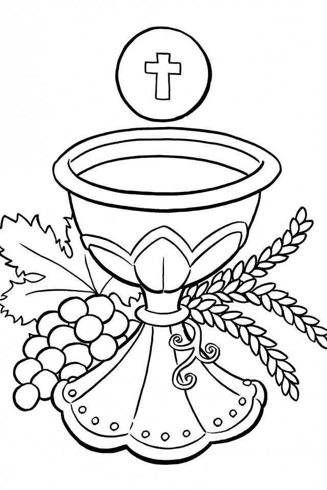 Catholic Coloring Pages For Kids Free Communion Cups Communion