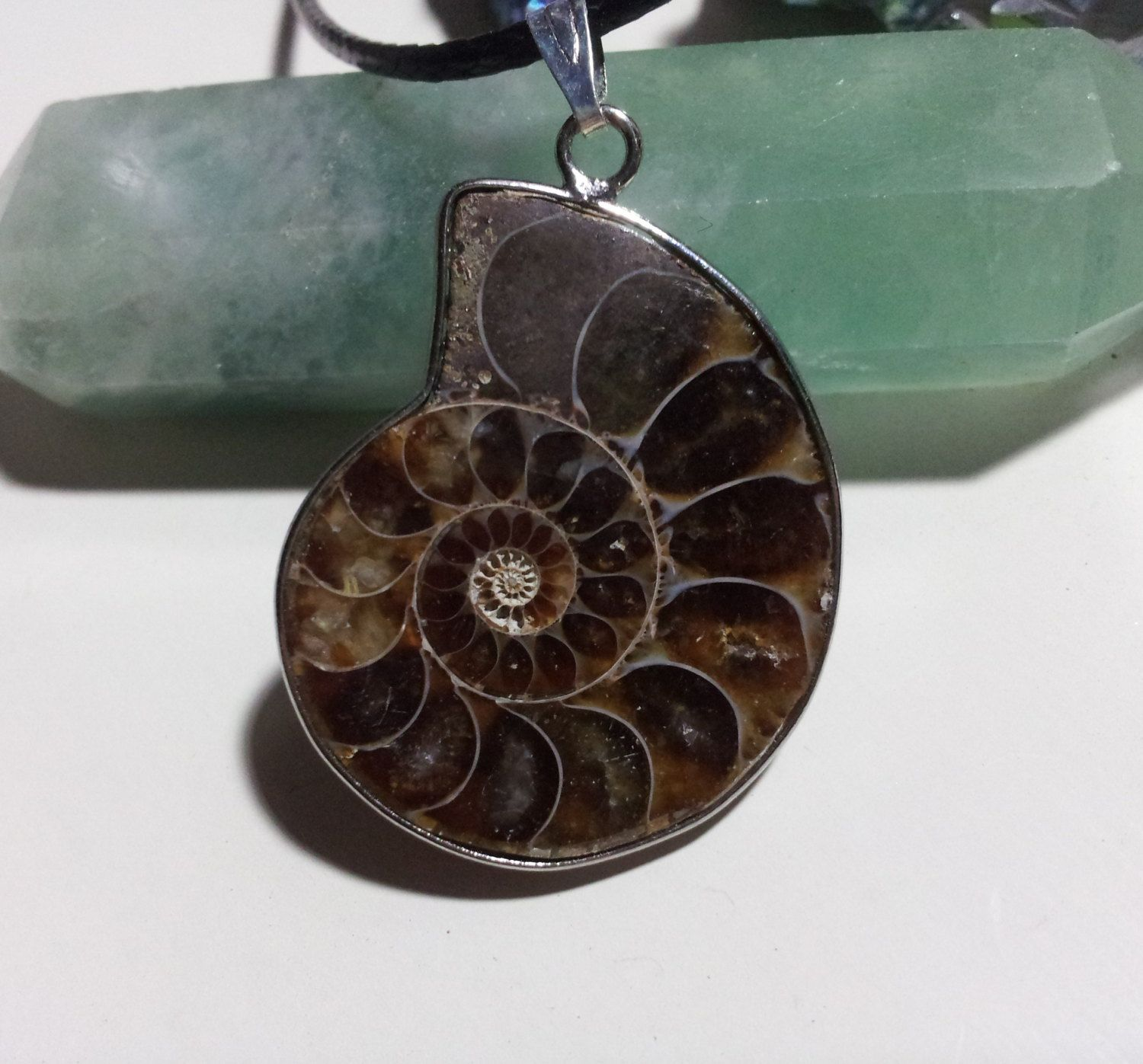 Ammonite fossil pendant with free shipping worldwide fossil ammonite fossil pendant with free shipping worldwide fossil necklace ammonite necklace fossil jewelry shell fossil necklace spiral mozeypictures Gallery
