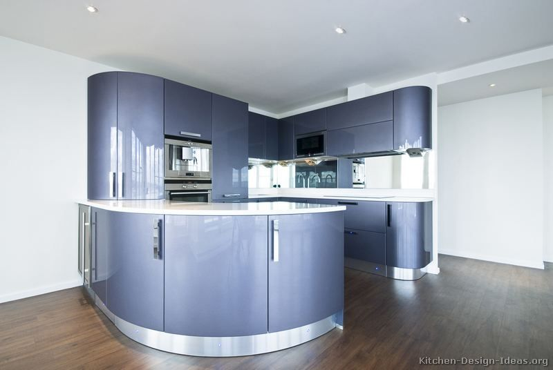 Kitchen Of The Day A Contemporary Design With Curved Kitchen Cabinets In Glossy Blue Photo 7 Blue Kitchen Cabinets Purple Kitchen Interior Blue Kitchens