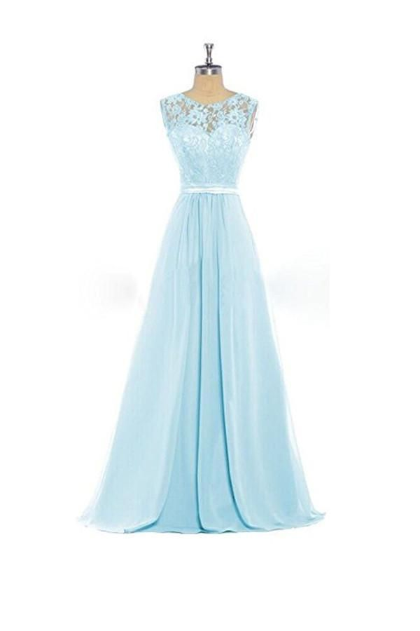 Elegant Light Blue Round Neck A Line Lace Up Chiffon Bridesmaid Dresses Evening Dresses