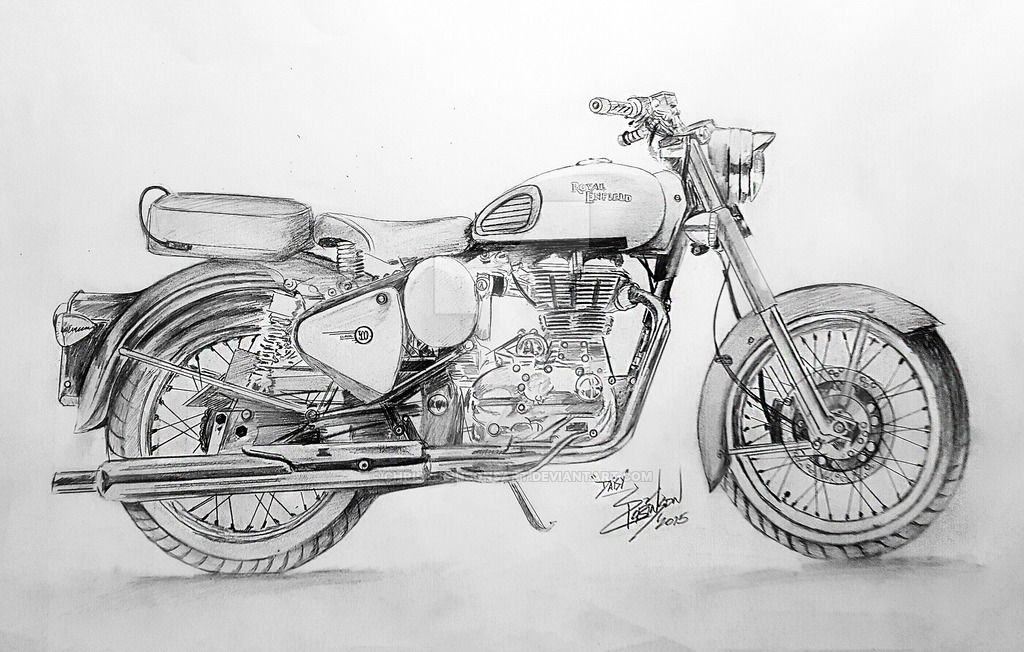 Motorcycle Drawing Bullet Bike Royal Enfield Bike Sketch