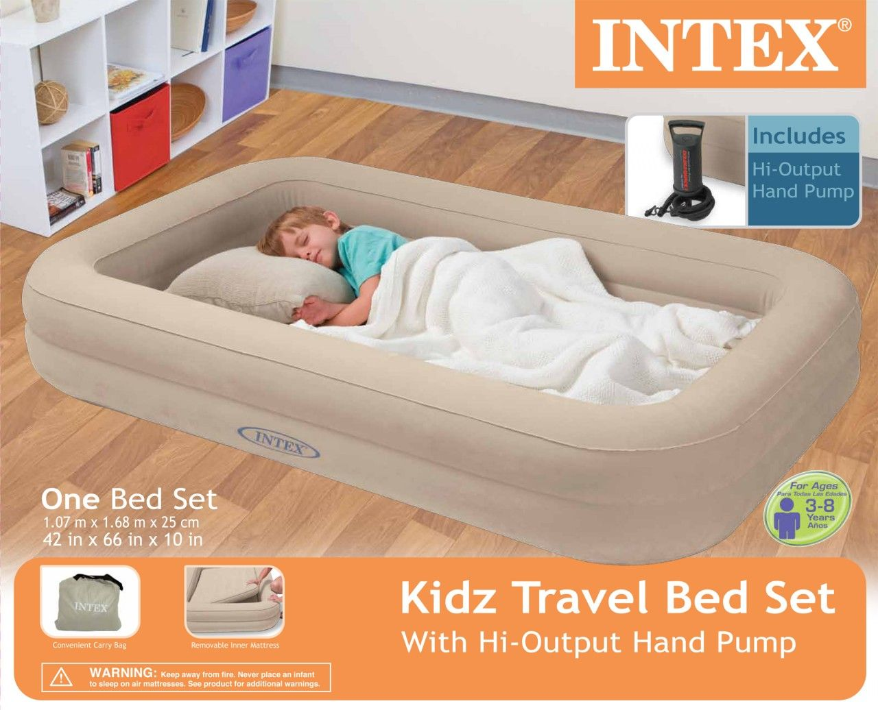 Baby bed camping - Intex Travel Bed Kids Child Inflatable Airbed Toddler Portable Air Bed Camping In Home Garden Furniture Beds Mattresses