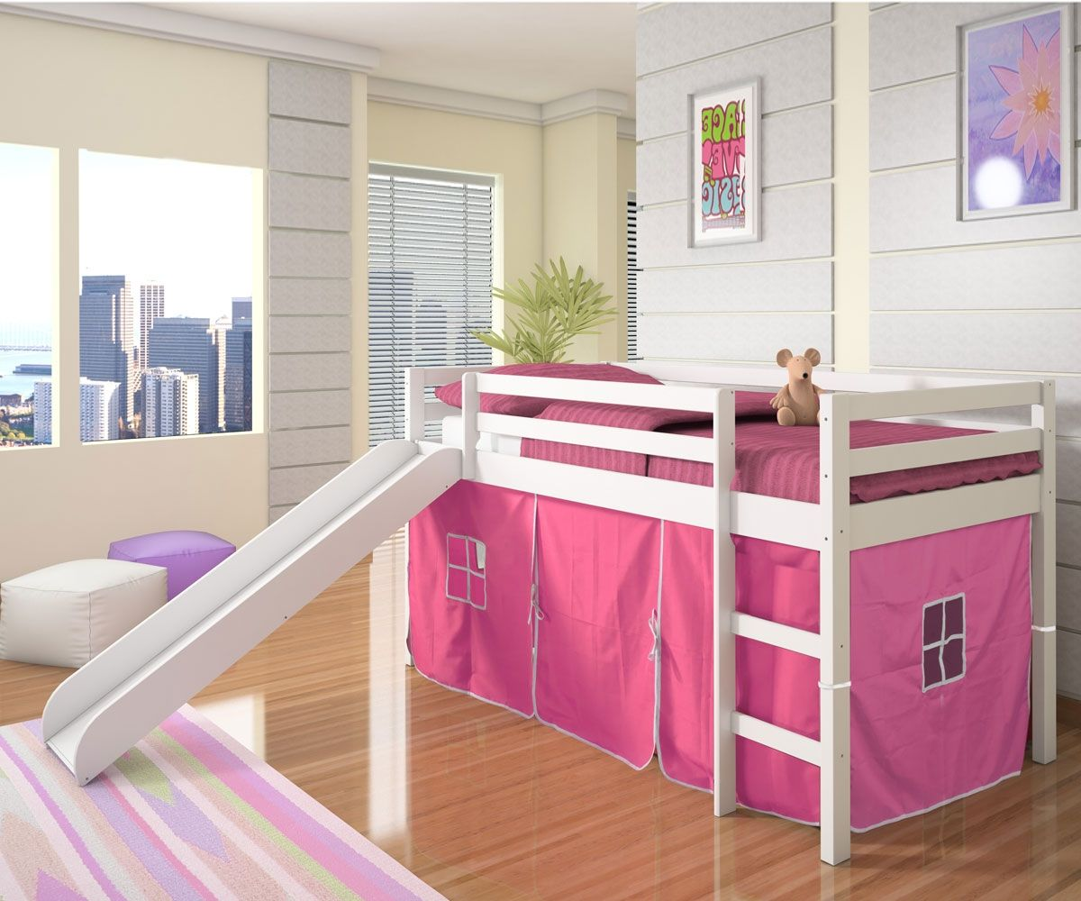 Best Low Loft Bed With Pink Tent Slide White Bedroom 400 x 300