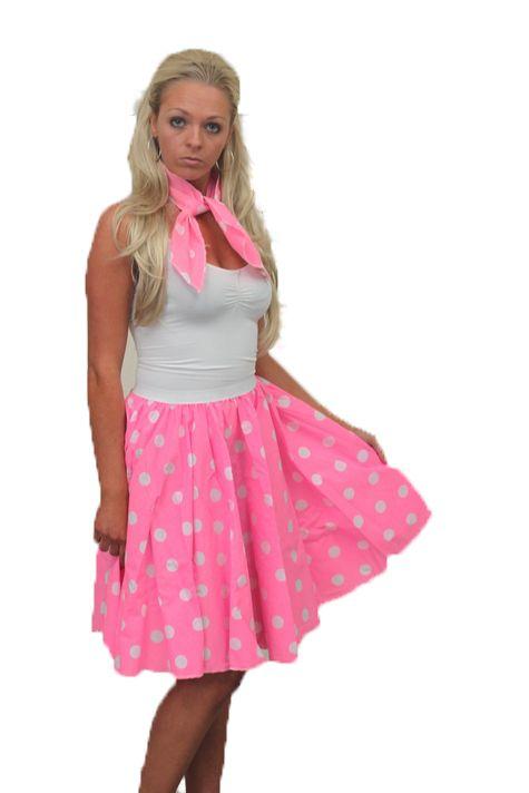 Rock N Roll Skirt & Scarf Set 1950s Grease Womens Fancy Dress lot