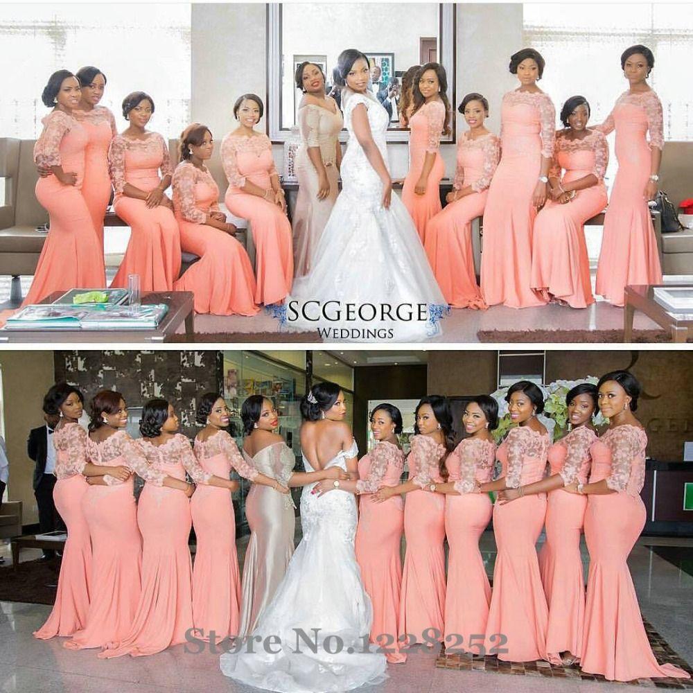 nigerian-bridesmaids-coral-pink-gold-wedding. Gold sequin Nigerian ...
