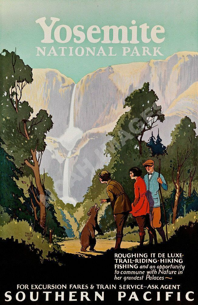 Yosemite National Park vintage Southern Pacific train travel poster repro 1624  ... - Travel Poster #National #Pacific #Park #Poster #REPRO #Southern #Train #Travel #Vintage #Yosemite #Traintravel #Train #travel