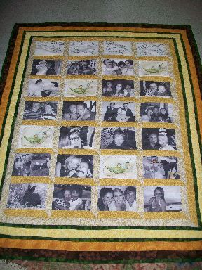 Family Quilt. using special printer fabric to make a quilt full of memories for someone special!