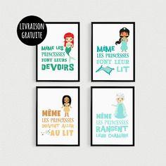 Promo: lot de 4 posters 21x30cm citations princesse (version2 ...