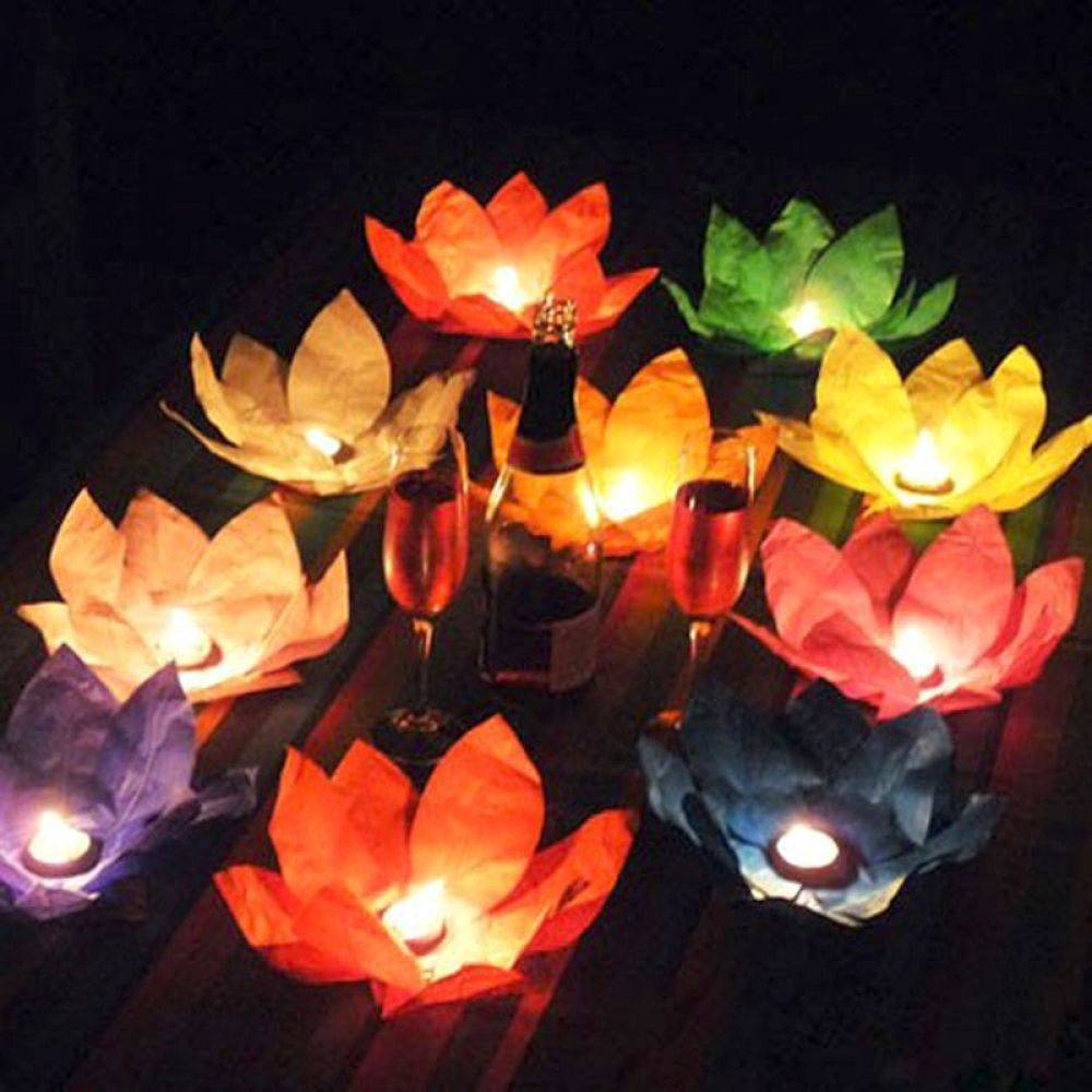 Floating Lotus Tea Lights Love Pool Time Play Time Candles