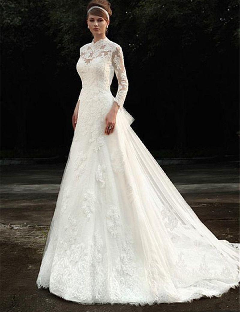 winter garden wedding long sleeve wedding dress high neck lace