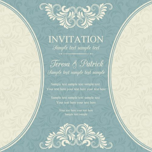 Vintage Ornate Holiday Invitation Cards Vector   Vector