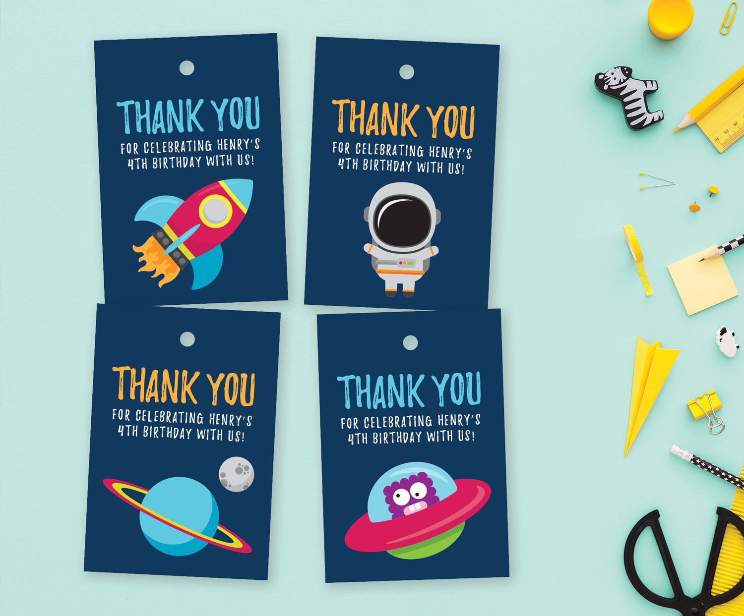 Birthday Party Favor Stickers Set of 30 Outer Space Astronaut Thank You Stickers for Boy