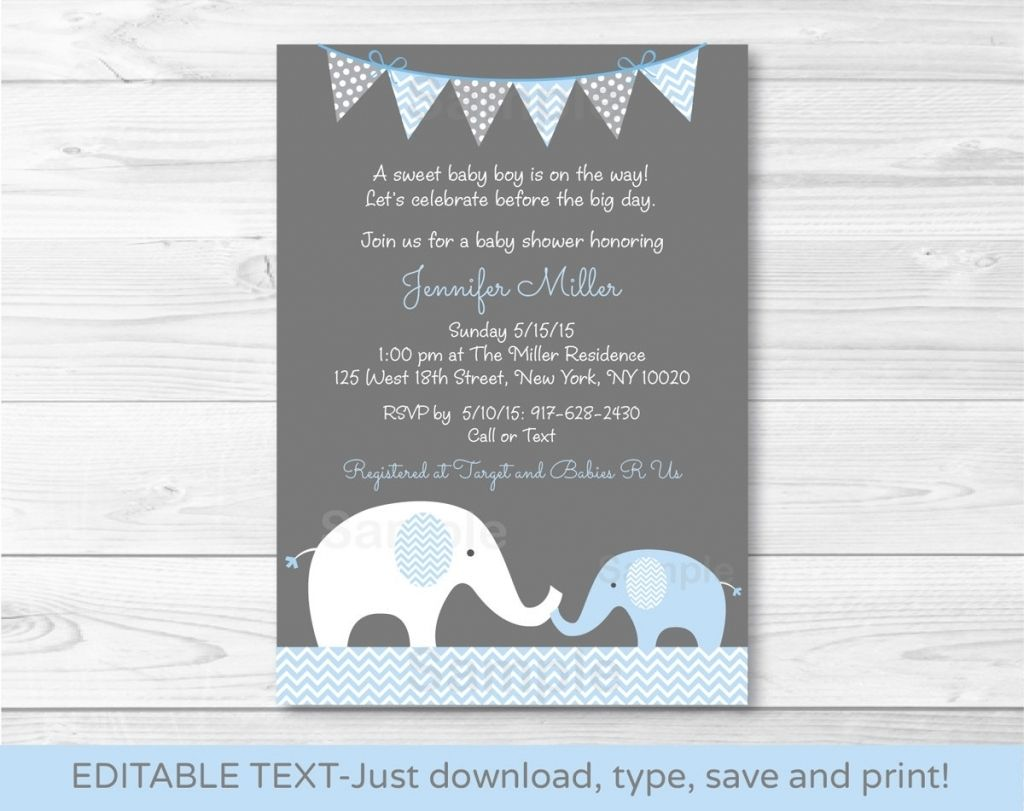 Fantastic Baby Shower Invitation Wording Elephant Theme In Baby