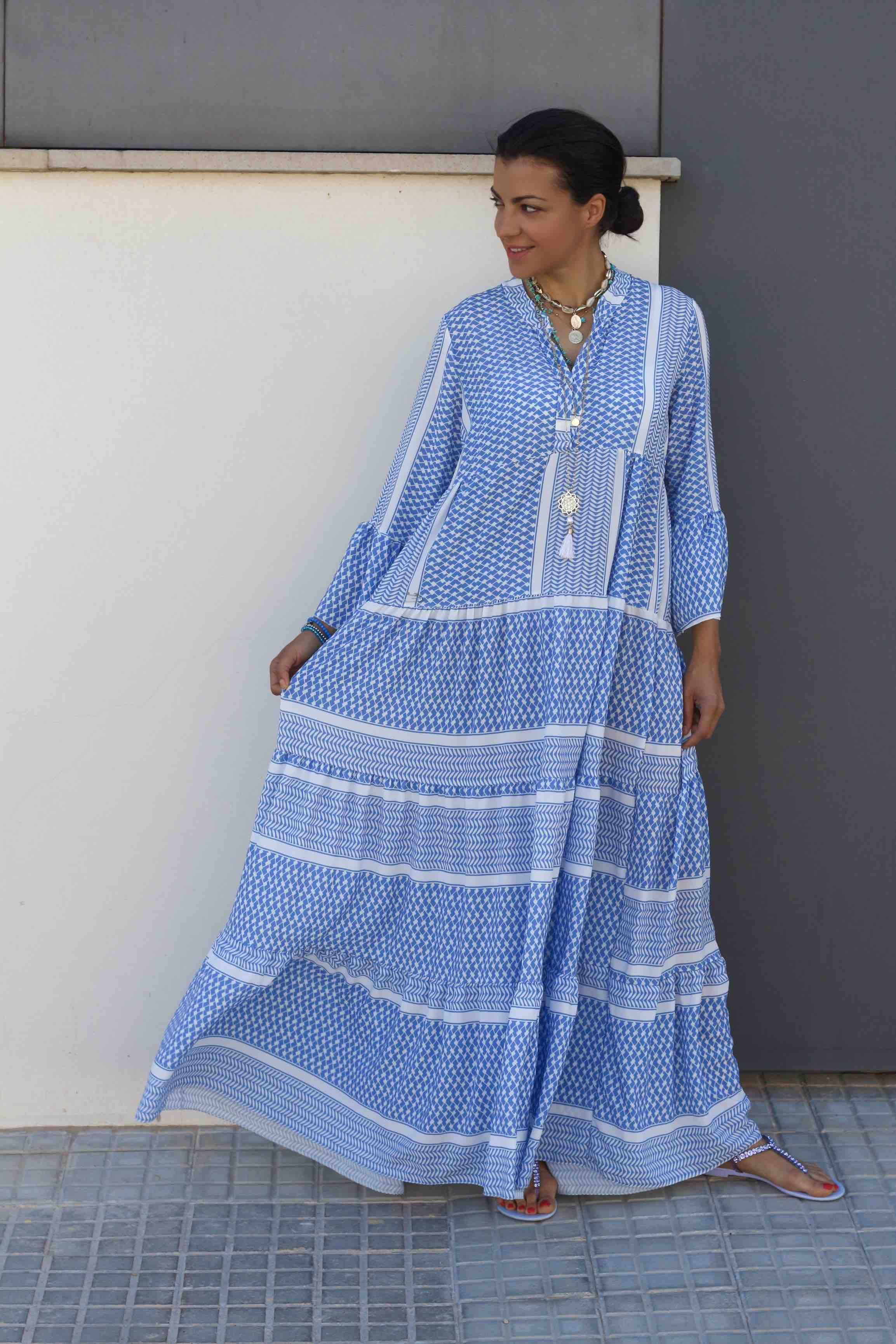amelie kleid blau weiss maxi pali kleid | kleid blau weiß