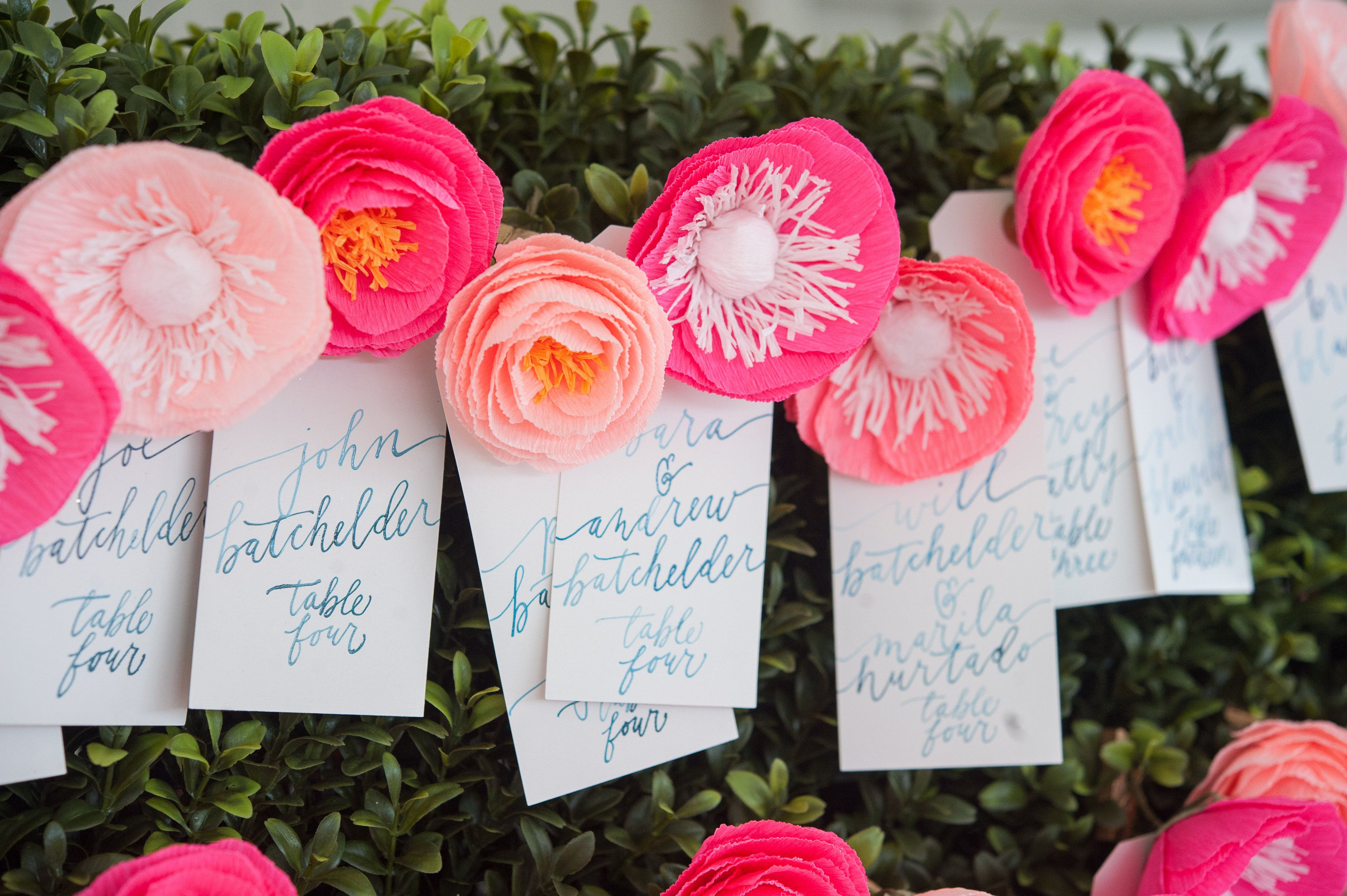 Vibrant Pink Paper Flower Escort Cards Found On The Knot A Kate