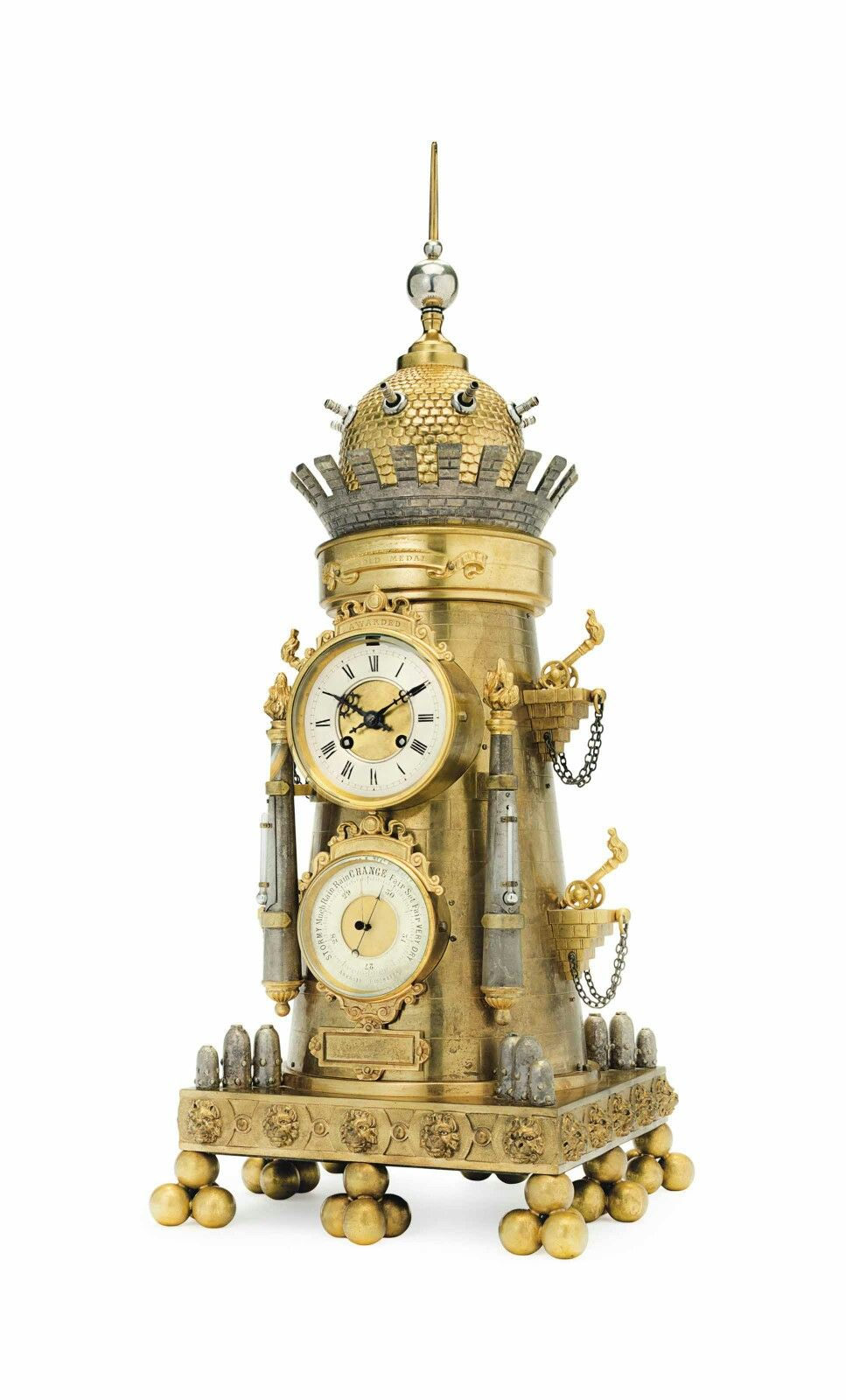 A French Ormolu And Silvered Bronze Automaton Clock And Barometer The Clockworks By Samuel Marti Circa 1889 Clock Antique Wall Clocks Wall Clock Brands