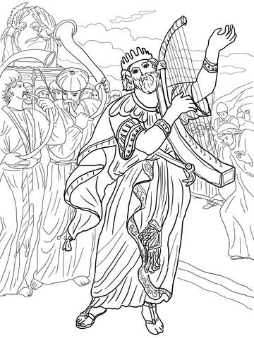 David Brings The Ark To Jerusalem Coloring Page Coloring Pages