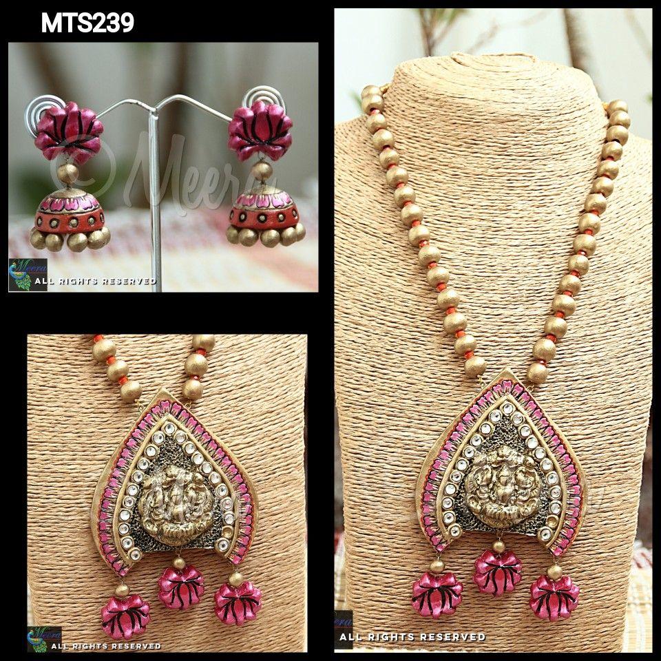 Terracotta lakshmi set terracotta jewellery pinterest