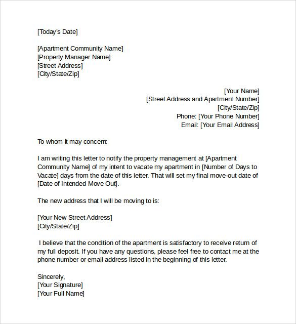 Intent To Vacate template Pinterest Letter sample and Blog - new sample letter notice vacate flat