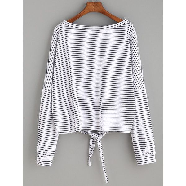 SheIn(sheinside) White Striped Tie Front T-shirt ($13) ❤ liked on Polyvore featuring tops, t-shirts, white t shirt, stripe t shirt, stripe tee, white long sleeve t shirt and white top