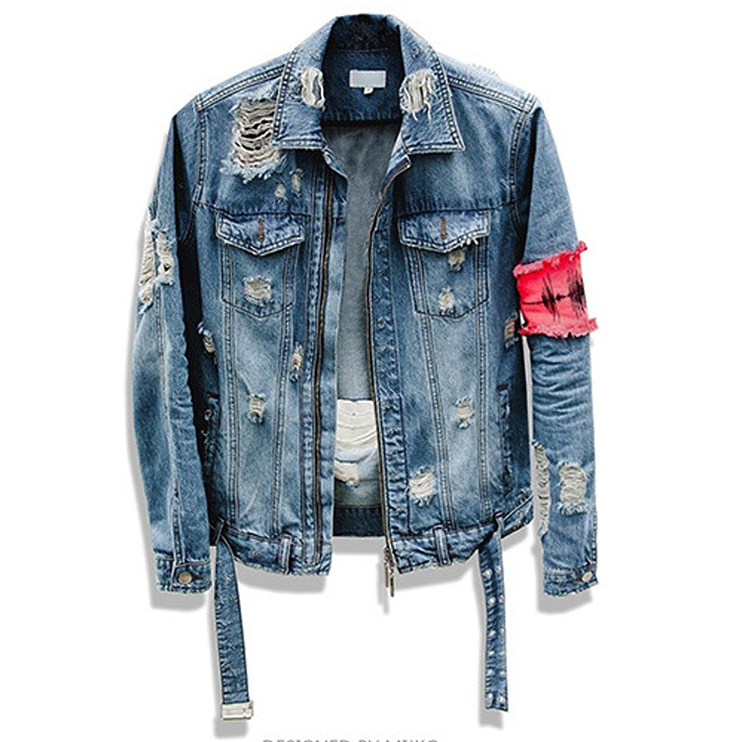 7fd7974a909 Frinkey Men s Ripped Denim Trucker Jacket Distressed Rugged Patchwork Jeans  Jackets Biker Jacket For Man at Amazon Men s Clothing store