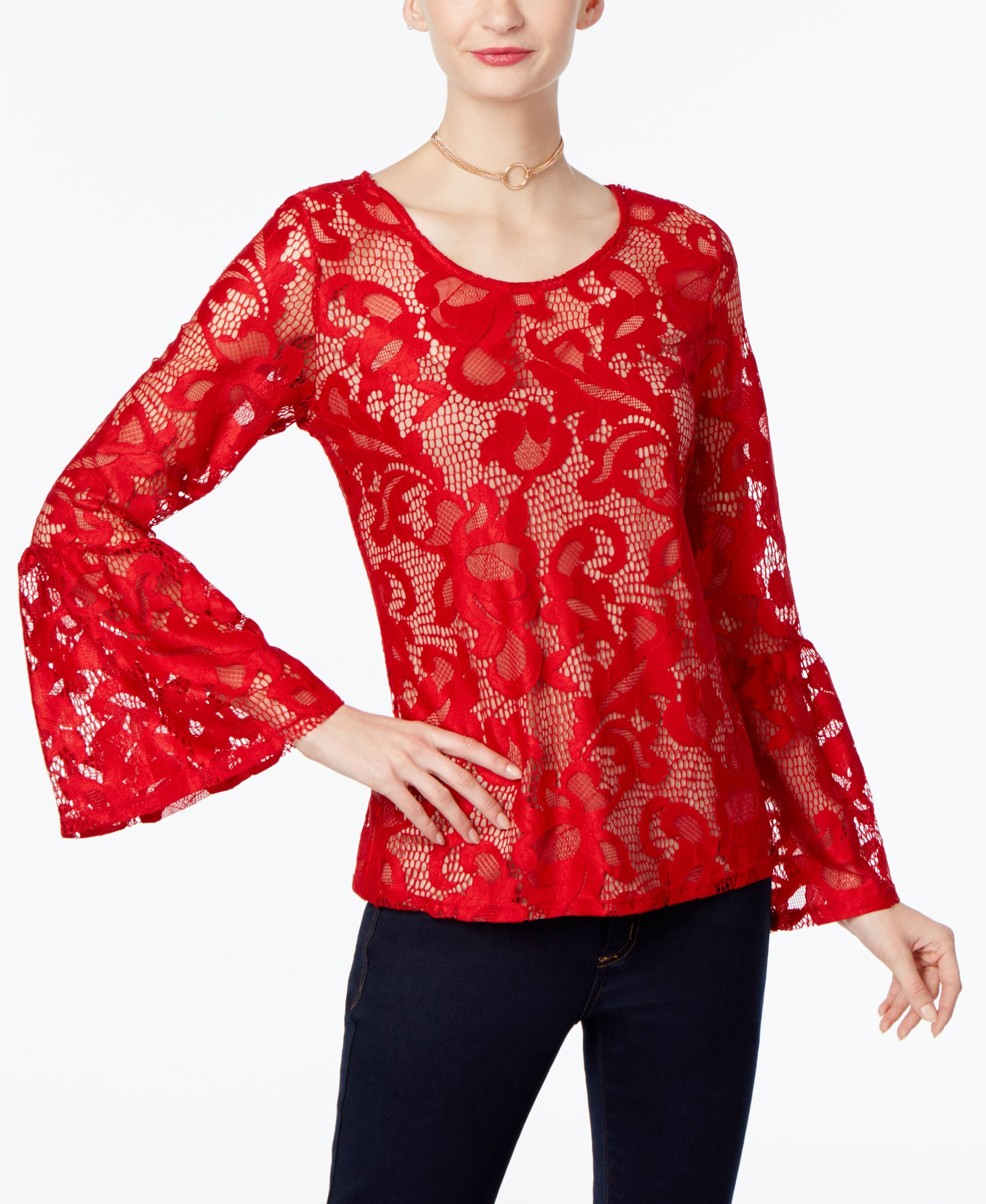 da014c87b1e97f Inc International Concepts Lace Bell-Sleeve Top, Only at Macy's ...