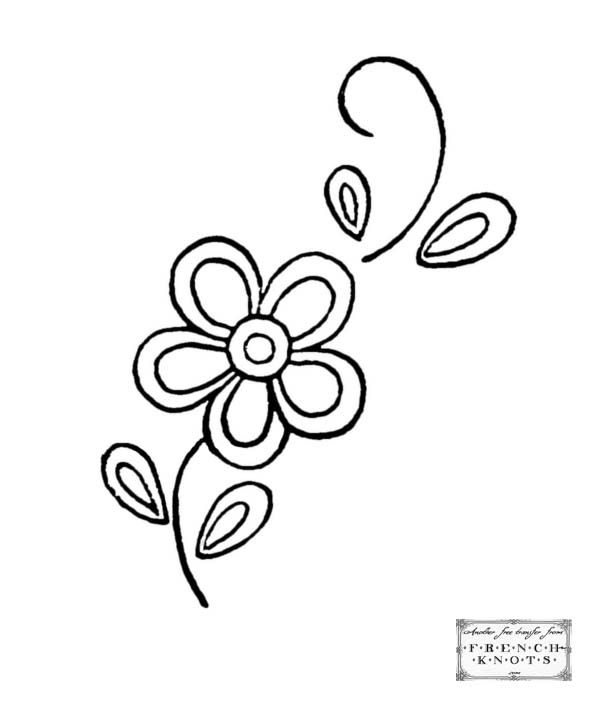 free Hearts and Flowers Embroidery Transfer Patterns Templates - copy coloring pages with hearts and flowers