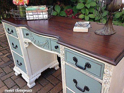 Antique Two-Toned Desk Painting Pinterest Bureau antique