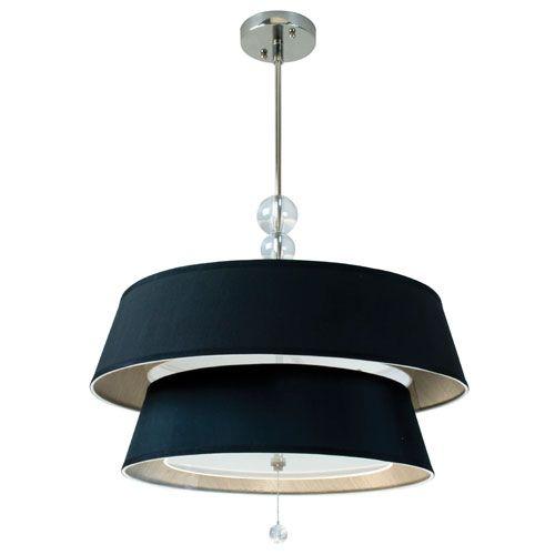 Elle Chrome Six Light Pendant With Black Shade Craftmade Drum Pendant Lighting Ceiling Lig