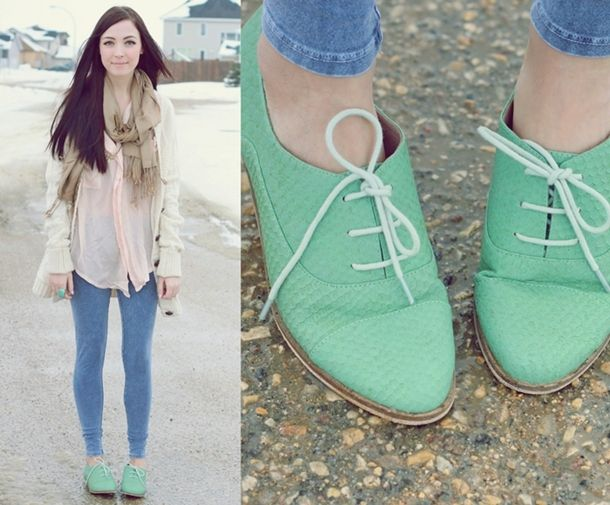 mint green oxfords.