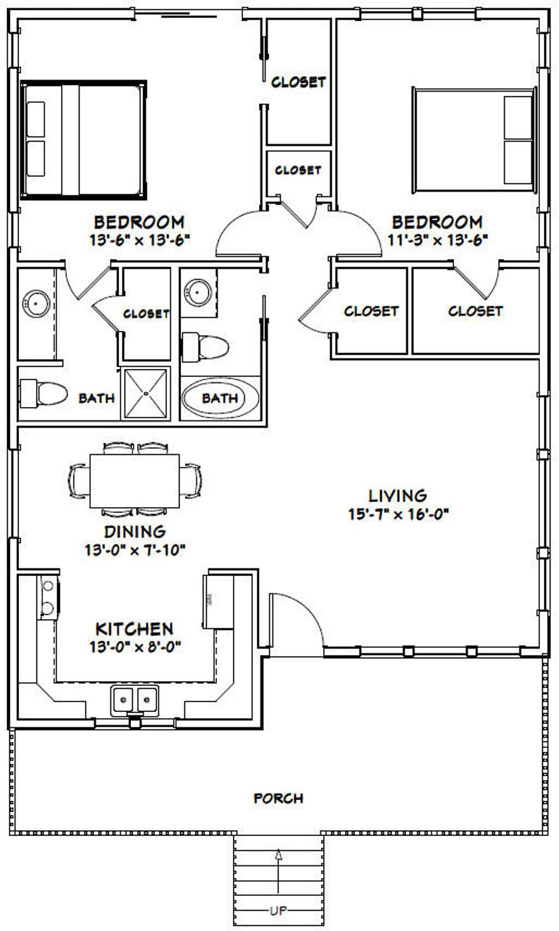 30x40 House 2 Bedroom 2 Bath 1 136 Sq Ft Pdf Floor Plan Instant Download Model 1c In 2021 30x40 House Plans Guest House Plans Small House Floor Plans