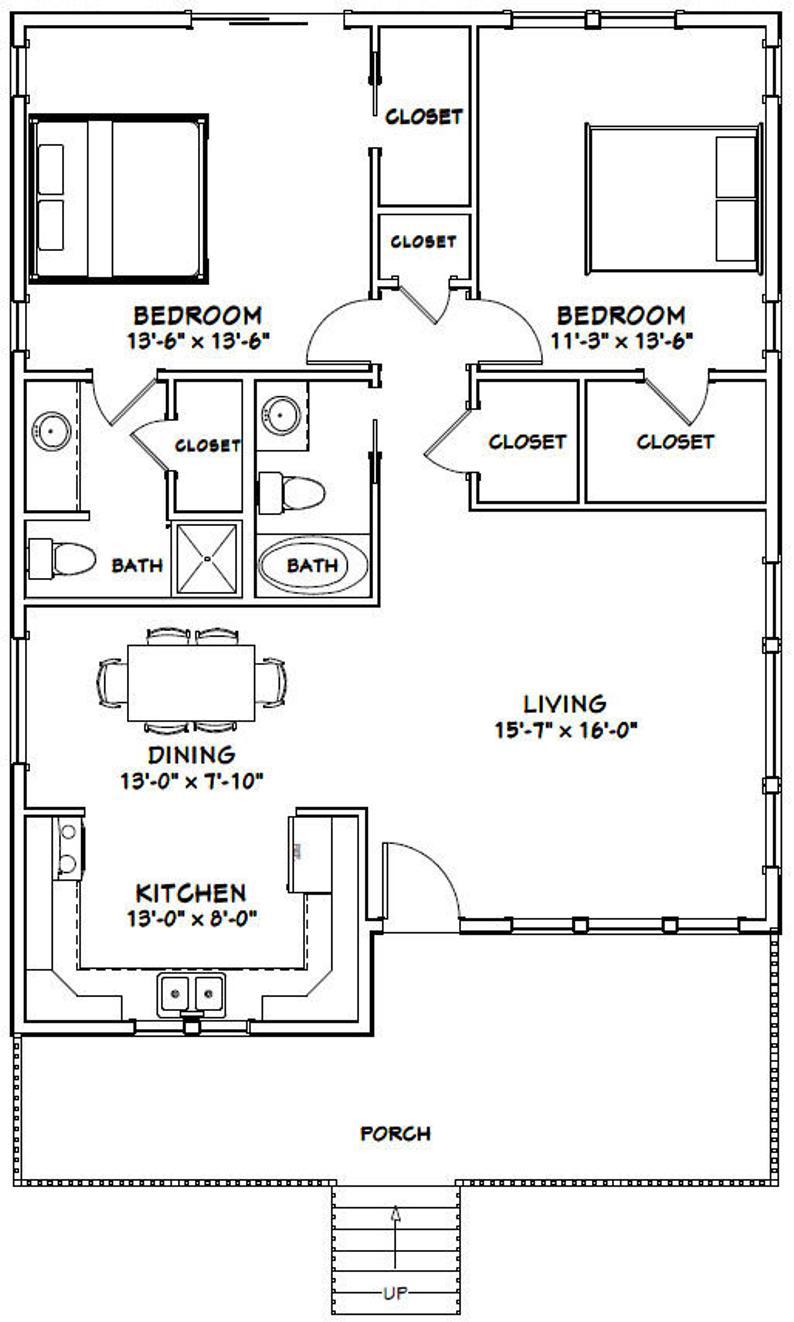 30x40 House 2 Bedroom 2 Bath 1 136 Sq Ft Pdf Floor Plan Instant Download Model 1c In 2021 30x40 House Plans Guest House Plans Small House Floor Plans