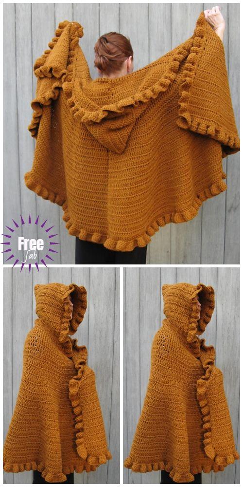 Crochet Ruffled Shawl Cape Free Crochet Patterns #shawlcrochetpattern