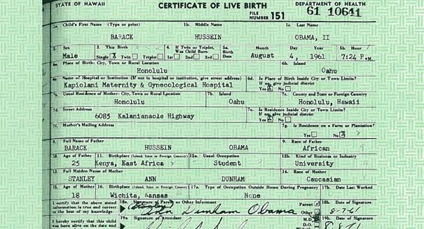 Former Hawaii elections clerk Tim Adams has now signed an - birth certificate sample