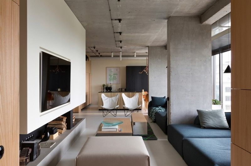 Penthouse With Concrete Ceiling And A Glasswall Windows  Living Simple Cement Showcase Designs Living Room Inspiration Design