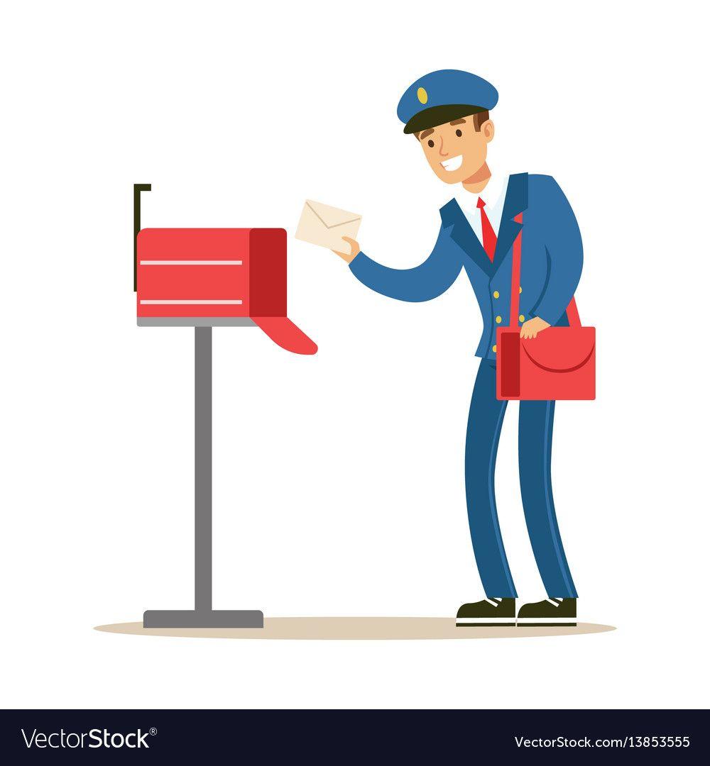 Postman in blue uniform delivering mail putting vector