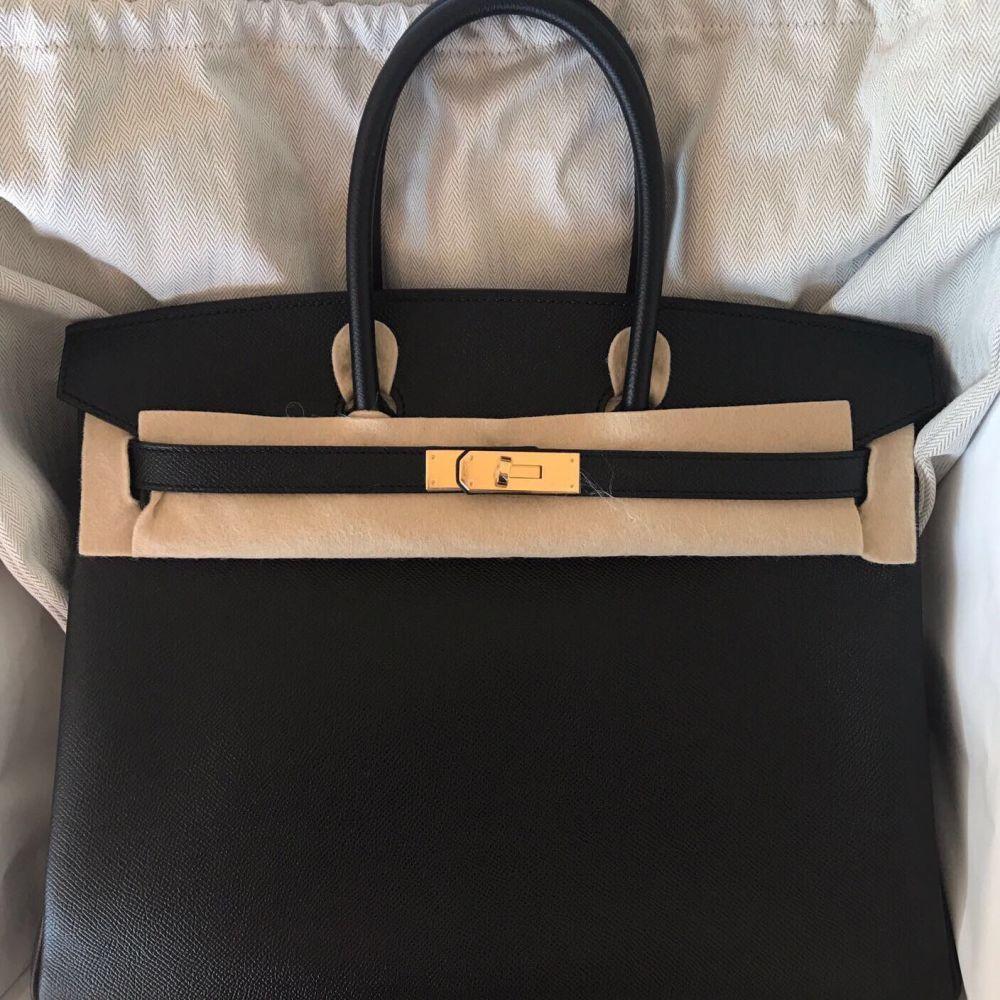 0442b8a1bb Hermès Birkin 35 Noir (Black) Epsom Gold Hardware GHW A Stamp 2017   thefrenchhunter