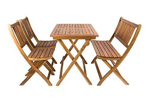 SAM Salon de Jardin Bois dAcacia 4 unités 1 Table 2 chaises ...
