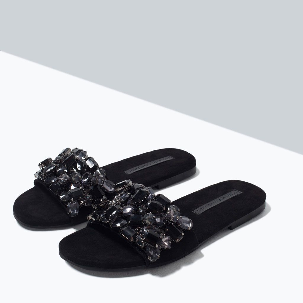 Jewel Slip On Sandals From Zara In 2019 Shoes Women S