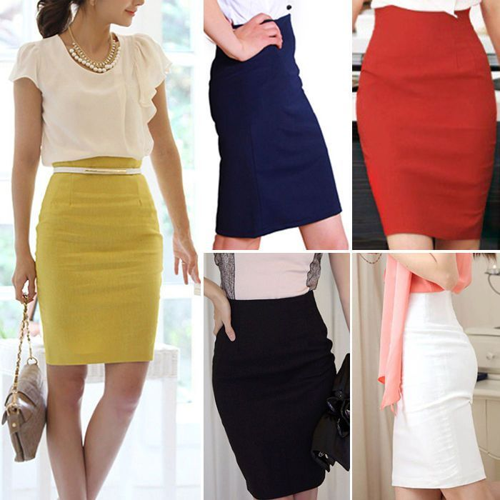 f41560ca43 Women High Waist A132 Office Pencil Skirt Fitted Business Knee Long Slimming