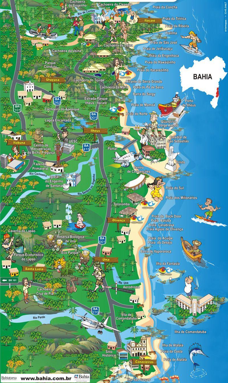 Costa Do Cacau Pesquisa Google Com Imagens Viagens Mapa