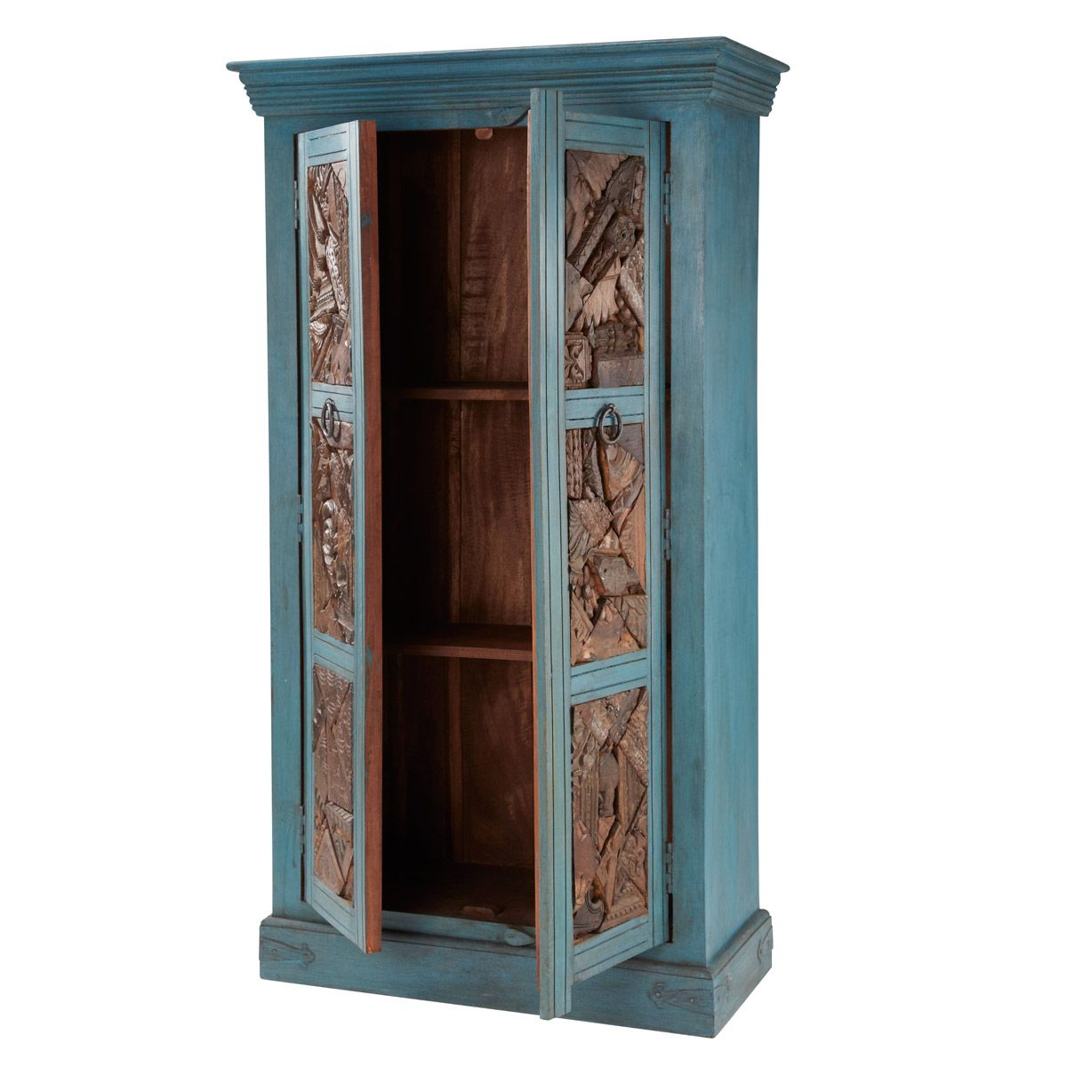 armoire jodhpur this indian furniture has two doors carved from reused wood originating from. Black Bedroom Furniture Sets. Home Design Ideas