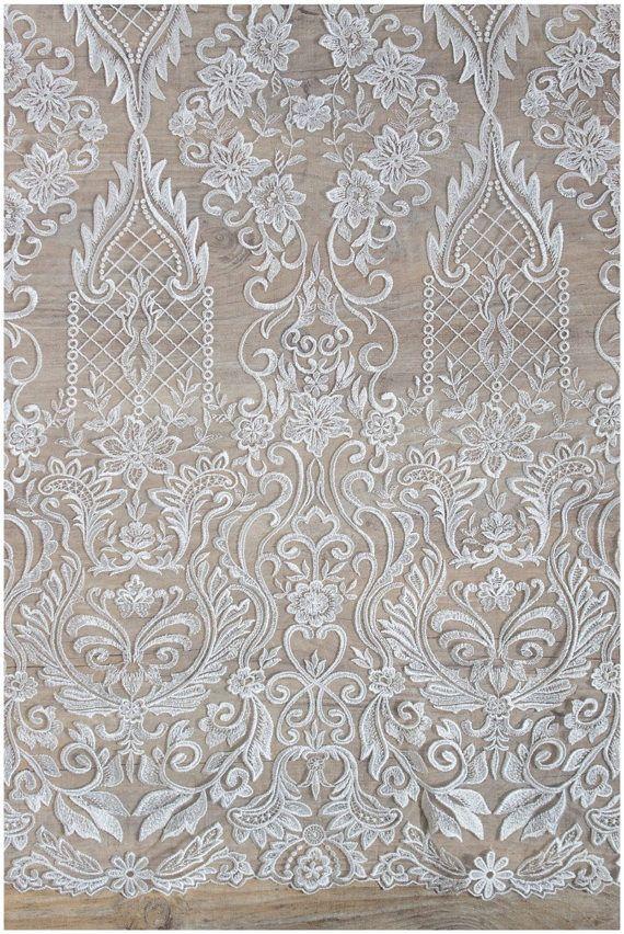 Ecru lace fabric Embroidered lace French Lace Wedding Lace Bridal lace White Lace Veil lace Lingerie Lace Alencon Lace K00625