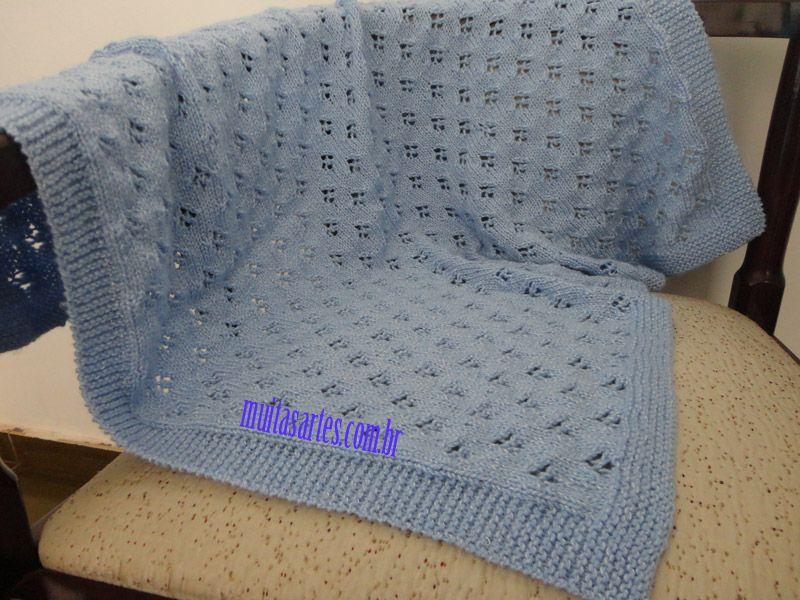 668d6255c939f bebê — Muitas Artes — Page 2. Manta de trico com receita Gorros De Trico