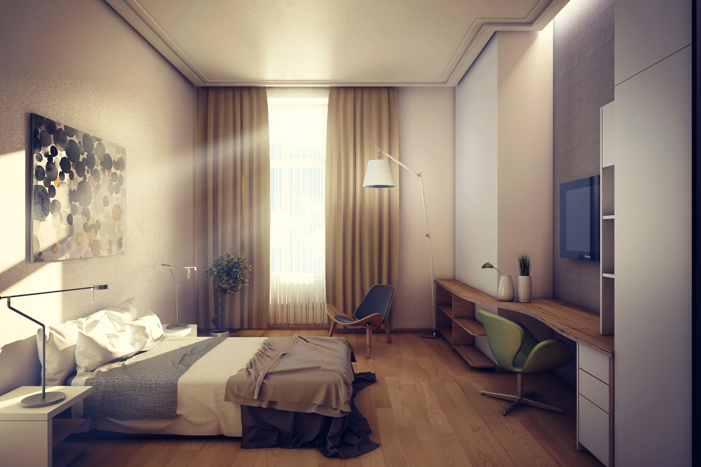 Hotel room interior design 3d modelling rendering and for Interior design room hotel