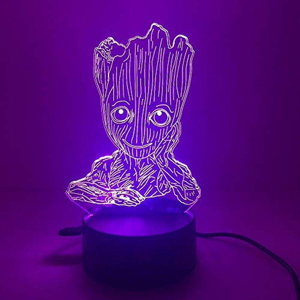 Baby Galaxy Guardian Zeichentrickfigur Anime Grot Groot 3d Nachttisch Dekoration Schlafzimmer Lampe Nacht Nachtlicht Nachtlicht Fur Kinder Geschenke Fur Kinder