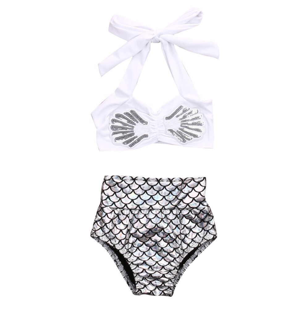 bf3ed12d47 Shiny bikini bottoms with gorgeous scales - Halter straps that tie at back.  - 82% polyester
