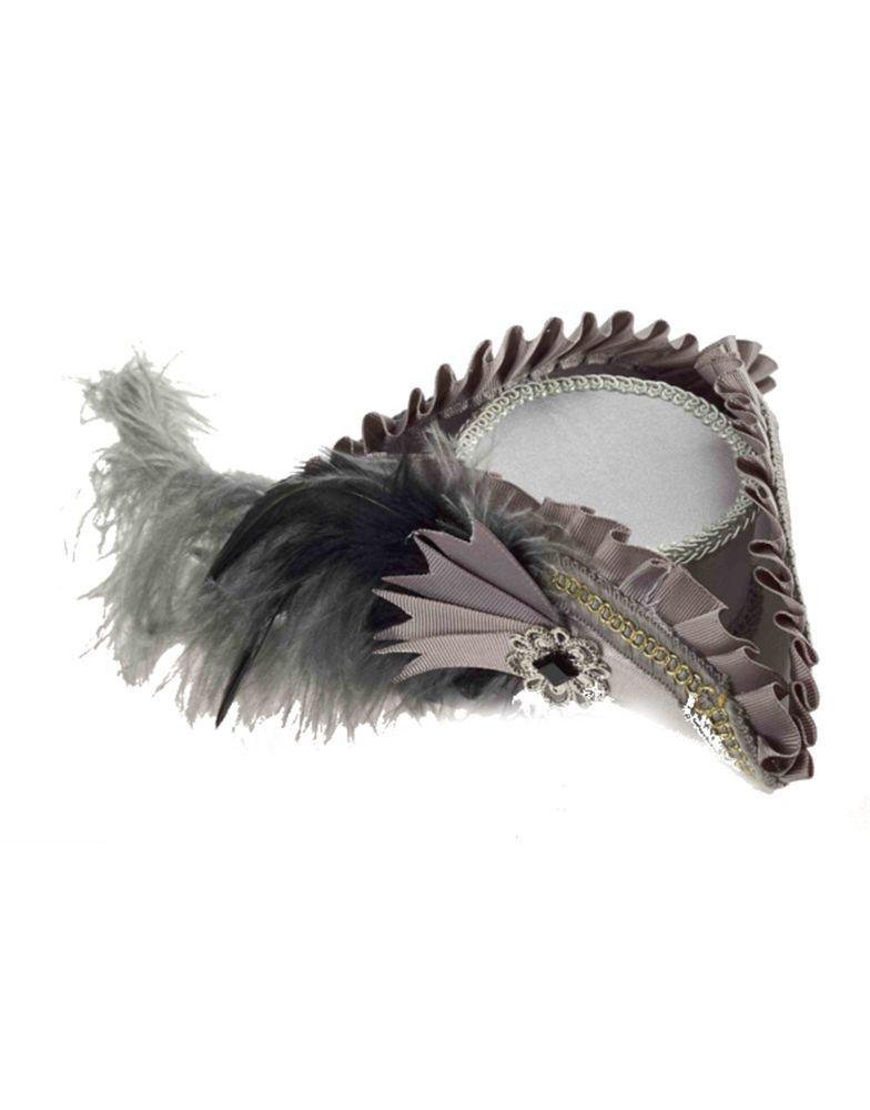 Gray Mini Tricorn Cocktail Hat Feather Pirate Fascinator Costume Burlesque Gold